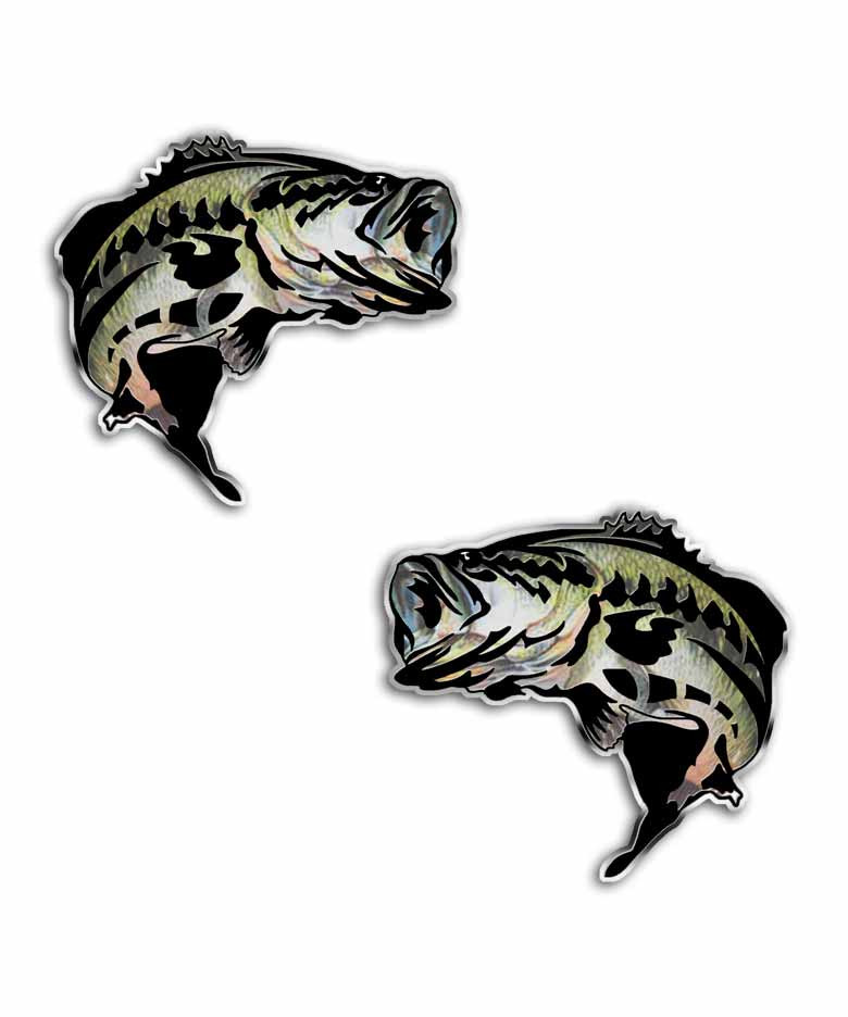 Largemouth bass jumping fish sticker set aftershock decals for Bass fishing decals