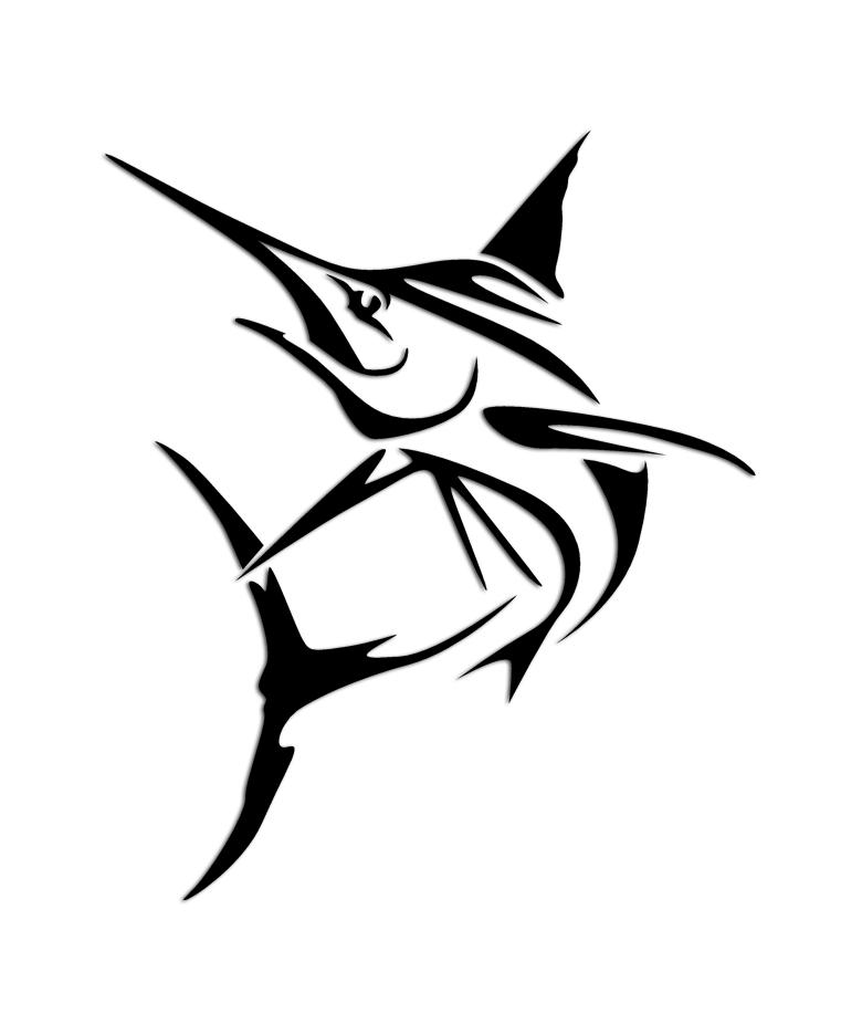 marlin tribal fishing sticker aftershock decals. Black Bedroom Furniture Sets. Home Design Ideas