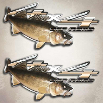 4x4 walleye truck fishing decals off road fish stickers for Fishing stickers for trucks