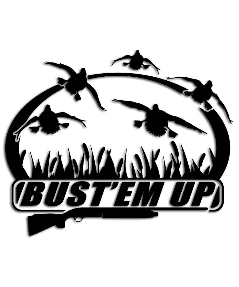 Bust 39 em up duck sticker aftershock decals for Duck hunting mural
