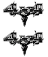 Gray Camo Skull 4x4 Sticker set