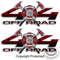 4x4 Firefighter Red Sticker Set for Ford