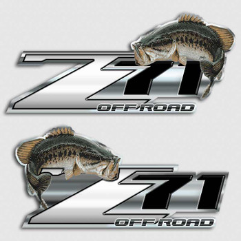 Bass fishing z71 chevy truck decal silverado fish sticker for Silver bass fish