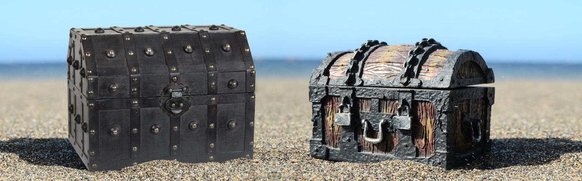 Pirate chest at beach