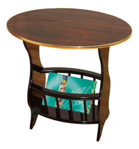 Oval Side Table with Magazine Holder, Espresso Brown Finish