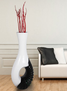 Modern Black and White Large Floor Vase - 43 Inch