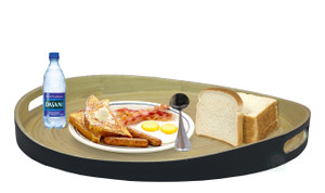 "Large Round Bamboo Serving Tray, 16"" Dia Breakfast Tray"