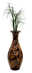"Traditional Brown Trumpet Shaped Floor Vase, 36"" Tall"