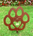 Cat Paw Pet Memorial Garden Stake - Metal Yard Art - Metal Garden Art - Rusty - Rustic