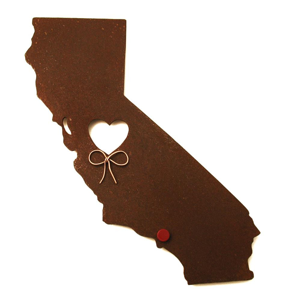 California State Map Metal Wall Art Sculpture - State Sculpture