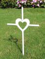 White - Pet Memorial Cross Garden Stake - Metal Yard Art - Metal Garden Art - Metal Cross