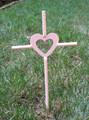 Pink - Pet Memorial Cross Garden Stake - Metal Yard Art - Metal Garden Art - Metal Cross