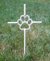 Dog Paw Pet Memorial Cross Garden Stake - Metal Yard Art - Metal Garden Art - Metal Cross - White