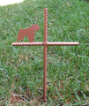 Bouvier Des Flandres Pet Memorial Cross Garden Stake - Metal Yard Art - Metal Garden Art - Metal Cross - Design 1