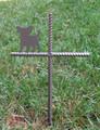 Papillon Pet Memorial Cross Garden Stake - Metal Yard Art - Metal Garden Art - Metal Cross - Design 1