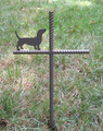 Dachshund Pet Memorial Cross Garden Stake - Metal Yard Art - Metal Garden Art - Metal Cross - Design 1