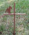 Wire Fox Terrier Pet Memorial Cross Garden Stake - Metal Yard Art - Metal Garden Art - Metal Cross - Design 1