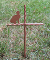 Cat Pet Memorial Cross Garden Stake - Metal Yard Art - Metal Garden Art - Metal Cross - Design 1