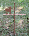 Boston Terrier Pet Memorial Cross Garden Stake - Metal Yard Art - Metal Garden Art - Metal Cross - Design 1