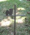 Lhasa Apso Pet Memorial Cross Garden Stake - Metal Yard Art - Metal Garden Art - Metal Cross - Design 1