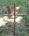 Mastiff Pet Memorial Cross Garden Stake - Metal Yard Art - Metal Garden Art - Metal Cross - Design 1