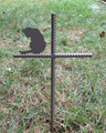 Cat Pet Memorial Cross Garden Stake - Metal Yard Art - Metal Garden Art - Metal Cross - Design 2