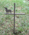 Basset Hound Pet Memorial Cross Garden Stake - Metal Yard Art - Metal Garden Art - Metal Cross - Design 1