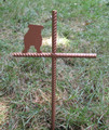 English Bulldog Pet Memorial Cross Garden Stake - Metal Yard Art - Metal Garden Art - Metal Cross - Design 1