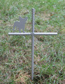 French Bulldog Pet Memorial Cross Garden Stake - Metal Yard Art - Metal Garden Art - Metal Cross - Design 2
