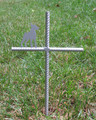 Doberman Pinscher Pet Memorial Cross Garden Stake - Metal Yard Art - Metal Garden Art - Metal Cross - Design 1