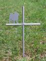 Pug Pet Memorial Cross Garden Stake - Metal Yard Art - Metal Garden Art - Metal Cross - Design 2