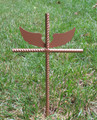 Angel Pet Memorial Cross Garden Stake - Metal Yard Art - Metal Garden Art - Metal Cross - Design 1
