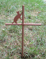Cat Pet Memorial Cross Garden Stake - Metal Yard Art - Metal Garden Art - Metal Cross - Design 3