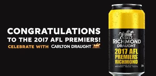 Richmond Draught Limited Edition 2017 AFL Premiers Richmond