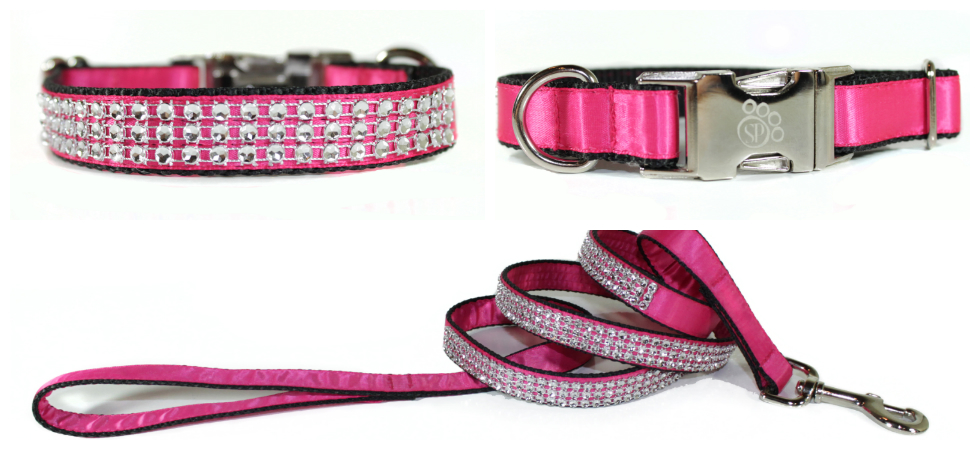 Sophisticated Pup Pink Satin Bling Collar and Leash Set