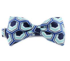 Blue Hexagon Bow Tie Dog Collar