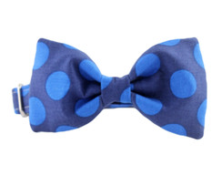 Blue on Blue Bow Tie Dog Collar