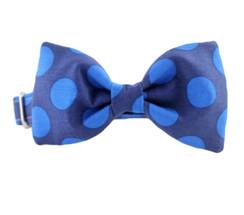 Blue on Blue Bow Tie Dog Collar