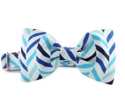 Seaside Herringbone Bow Tie Dog Collar