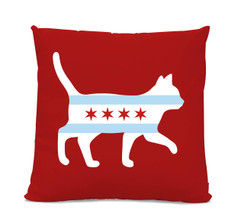 Chicago Flag Cat Red Pillow