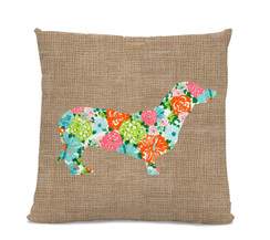 Floral Dachshund Pillow