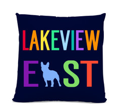 Lakeview East French Bulldog Navy Pillow
