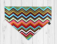 Rainbow Chevron Slip-On Dog Bandana