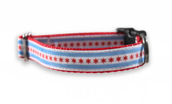 Chicago Flag Red Dog Collar