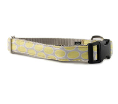 Yellow + Gray Dot Dog Collar