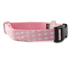Pink + White Dot Dog Collar