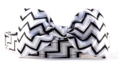 Grayscale Chevron Dog Collar Bow Tie Set