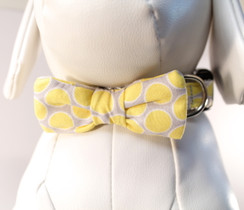 Yellow + Gray Dot Dog Collar Bow Tie Set