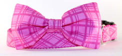 Pink Plaid Dog Collar Bow Tie Set