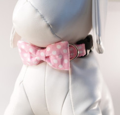 Pink + White Dot Dog Collar Bow Tie Set